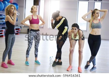Fitness women having break while training  #596416361