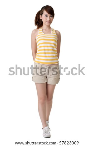 Fitness young girl standing, full length portrait of Asian woman isolated on white background.