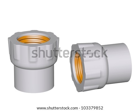 Fitting - PVC connection coupler inside screw thread powered isolated on white background Used to install plumbing and heating pipes made of polypropylene 3d