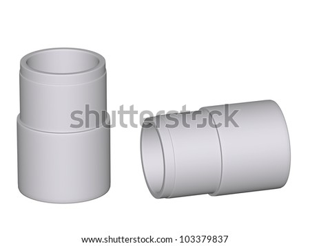 Fitting - PVC connection coupler isolated on white background Used to install plumbing and heating pipes made of polypropylene 3d