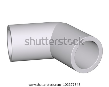 Fitting - PVC connection flex 45�° isolated on white background Used to install plumbing and heating pipes made of polypropylene 3d