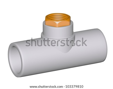 Fitting - PVC connection wye inside screw thread  90�° isolated on white background Used to install plumbing and heating pipes made of polypropylene 3d