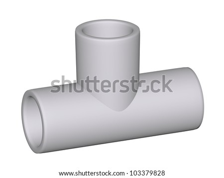 Fitting - PVC connection wye 90�° isolated on white background Used to install plumbing and heating pipes made of polypropylene 3d