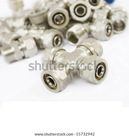fittings for metal pipes on a white background #55732942