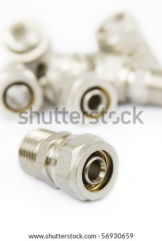 fittings for metal pipes on a white background #56930659