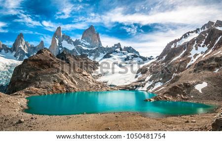 Fitz Roy mountain and Laguna de los Tres, Patagonia, Argentina Zdjęcia stock ©
