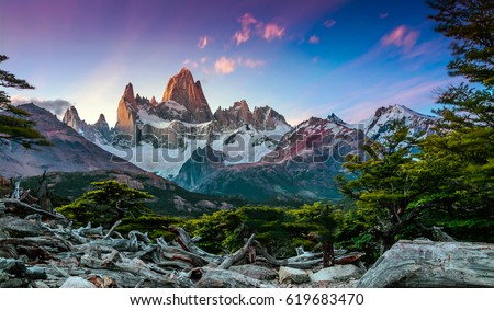Shutterstock Fitz Roy mountain near El Chalten, in the Southern Patagonia, on the border between Argentina and Chile. Sunset view from track
