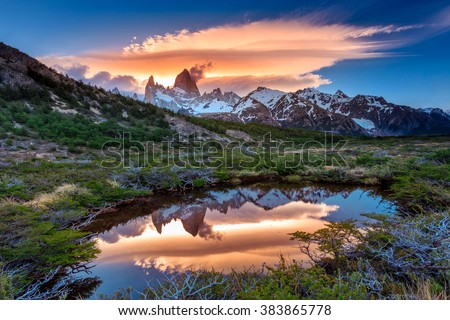 Fitz Roy view with reflection in pond, located at Argentinian Patagonia