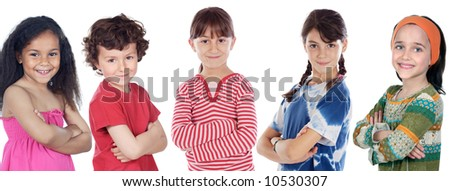 Five adorables children a over white background - stock photo