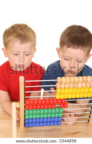 five and three years old boys with abacus isolated on white