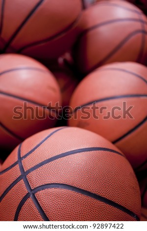 Five basketballs in close up
