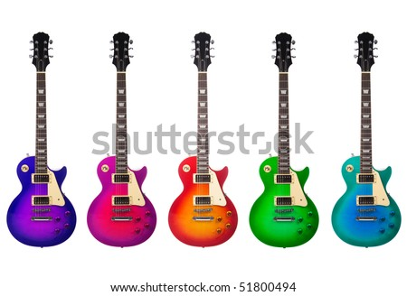 Five beautiful electric guitars isolated on a white background