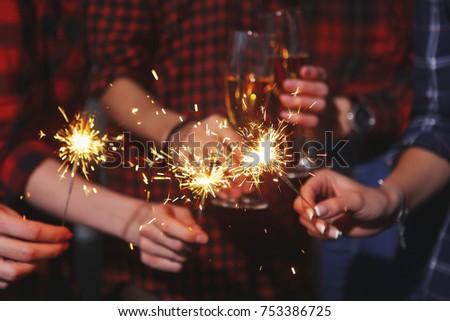 Five beautiful girls in New year eve #753386725