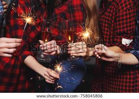 Five beautiful girls in New year eve #758045806
