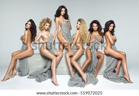 Five beautiful women on concrete block #519072025