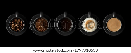 Five black cups with coffee and saucers on black background. Coffee beans, ground coffee, espresso, cappuccino and dalgona coffee. Flat lay.