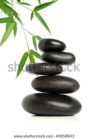 Five black stones balanced with bamboo leaves in background