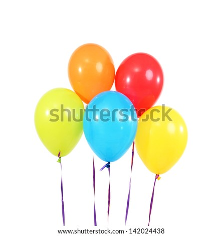 Five bright balloons on light background
