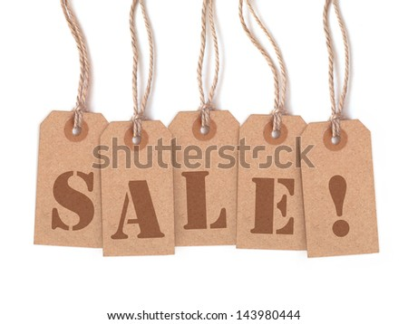"Five brown tags lettering ""sale!"" isolated on white background"