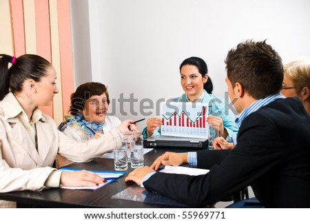 Five business people around a table having a conversation about sales while a businesswoman holding a diagram or a financial graph