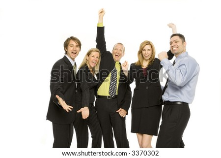 Five business people gesture excitement together