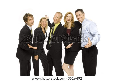 Five business people stand together happily