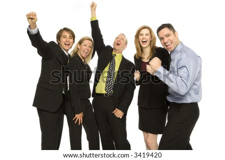 Five business people stand together with excitement