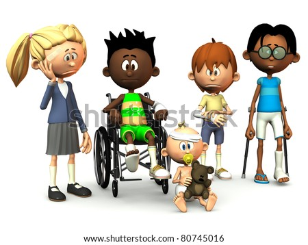 Five cartoon kids with different injuries. White background. - stock photo