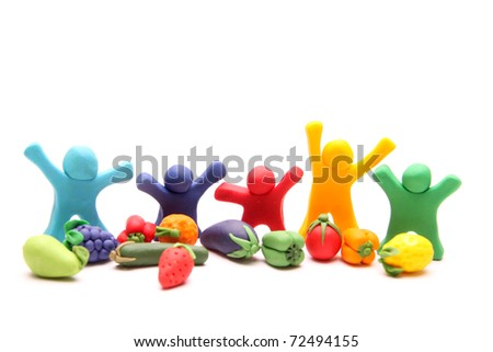 five cheerful plasticine guys happy with different types of healthy fruits and vegetables