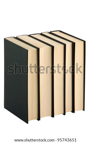 Five closed black books isolated on the white background