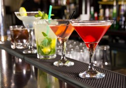 Five cocktails on the bar counter