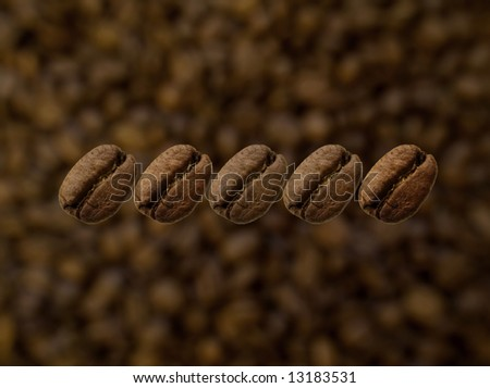 Five coffee beans in line Stock foto ©