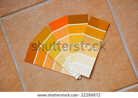 Five color charts in various earthy colors on new tuscan style luxurious tiles