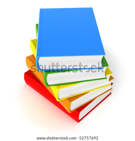 Five colored books isolated on white. Clean cover