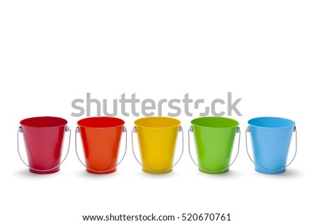 Five Colored Buckets in Rainbow Isolated on White Background.