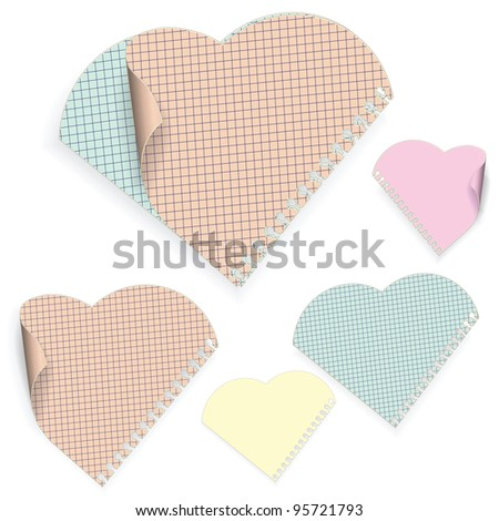 Five colored sheets of paper out of a pad with a spiral. Sheets of paper in the shape of a heart on a white background. 3 pages dog-eared. Vector illustration.