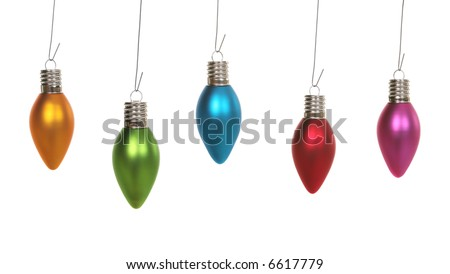 Five Colorful Christmas bulb ornaments hanging over a white background