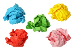 five colorful crumpled paper balls isolated on white