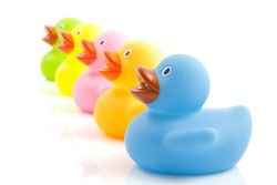 Five colorful ducks in a row isolated over white