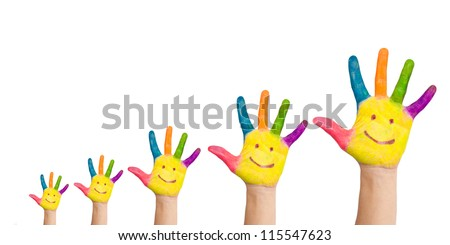 Five colorful hands with smile of big family, mother, father and children, situated as graph of growth, ready for logo. Very small, small, medium, large, very large hands Isolated on white background