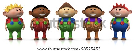 five colorful multi-ethnic cartoon boys with big smiles on their faces -  3d rendering/illustration