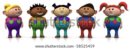 five colorful multi-ethnic cartoon kids with big smiles on their faces -  3d rendering/illustration