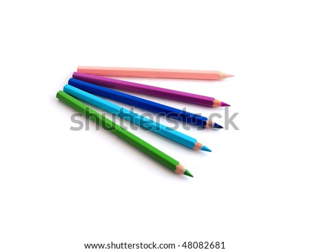 Five coloured pencils isolated on white.