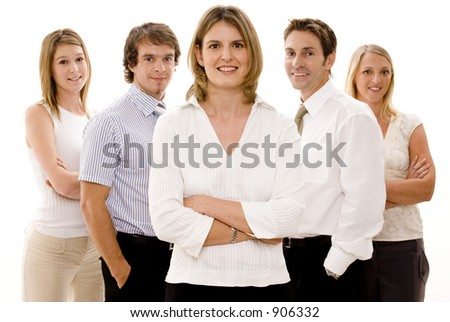 Five confident business people on white background