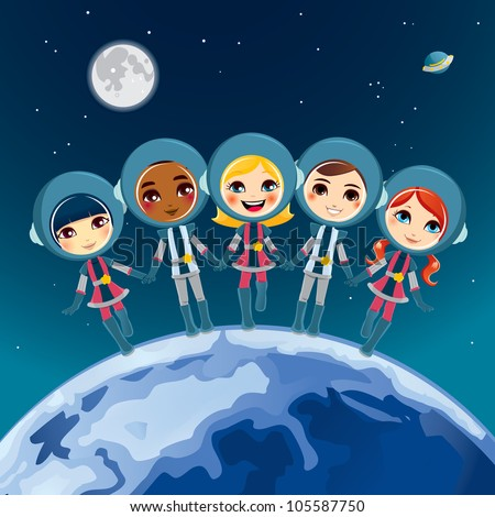Five cute children astronaut holding hands dream exploring space together
