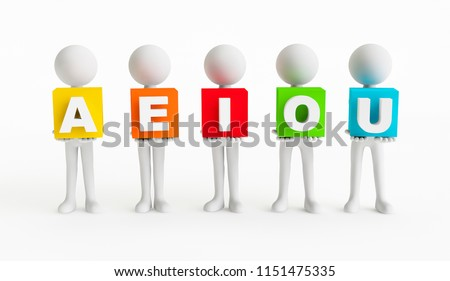 Five 3D men with cubes with vowel letters AEIOU on a white background. Concept children education. 3D Rendering.