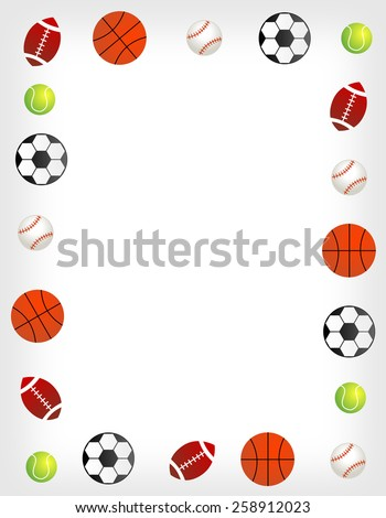 Five different sport balls border / frame on white background.