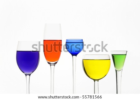 Five different wine-glasses on white background
