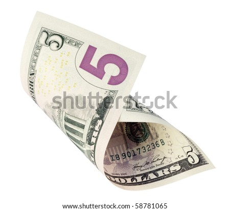 five dollar banknote,isolated on white with clipping path. - stock photo