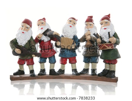 Five elves playing their music instruments at Christmas